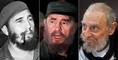 This combo of three file photos shows Fidel Castro, from left; smoking a cigar in Havana, Cuba, April 29, 1961; speaking to the media while on a mission to collect Elian Gonzales in Washington, D.C., April 6, 2000; and at his Havana home on Feb. 13, ...