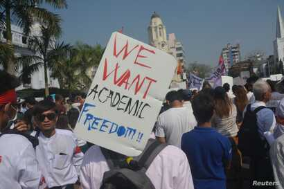 FILE - Student activists called for higher education reforms during a protest in downtown Yangon, Myanmar, Feb. 2015.