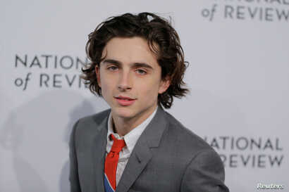 FILE - Actor Timothee Chalamet arrives at the National Board of Review awards gala in New York, Jan. 9, 2018.