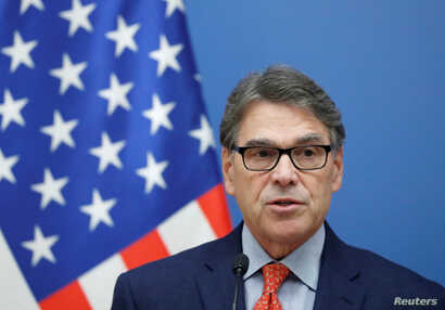 U.S. Energy Secretary Rick Perry attends a joint news conference with Hungarian Foreign Minister Peter Szijjarto in Budapest, Hungary, Nov. 13, 2018.