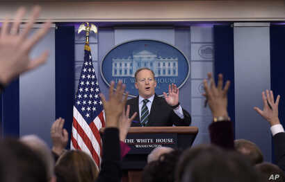 White House press secretary Sean Spicer speaks during the daily briefing at the White House in Washington, Jan. 25, 2017. Spicer answered questions about immigration, homeland security and other topics.