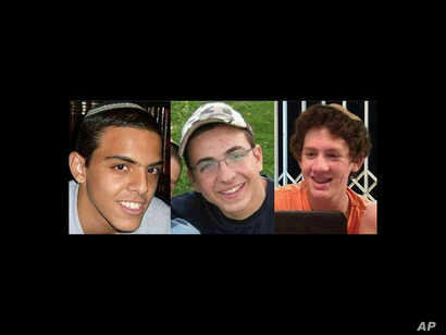 FILE - A combination of three photos of, from left, Israeli teens Eyal Yifrah, 19, Gilad Shaar, 16, and Naftali Fraenkel, a 16-year-old with dual Israeli-U.S. citizenship, who disappeared near Hebron on June 12. Their bodies were found June 30, 2014....