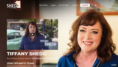 A portion of Tiffany Shedd's campaign website. Shedd, of Eloy, Arizona, will be running in the Republican primary in the hopes of challenging Democratic Representative Tom O'Halleran in November.