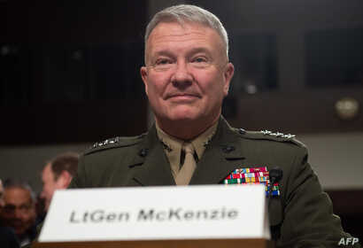Marine Corps Lt. Gen. Kenneth F. McKenzie Jr., nominee to be general and commander of the US Central Command, testifies during a Senate Armed Service Committee confirmation hearing on Capitol Hill in Washington, Dec. 4, 2018.