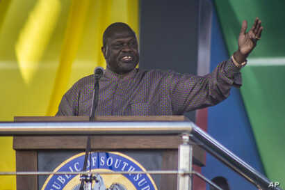 South Sudan's opposition leader Riek Machar speaks at peace celebrations in the capital Juba, South Sudan, Oct. 31, 2018.