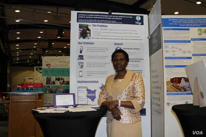 Dr. Phelgona A. Otieno, the principal research officer at the Kenya Medical Research Institute presents mThrive, an interactive mobile platform designed to ensure follow-up care and monitoring of the progression of preterm babies, July 28, 2016. (S. ...