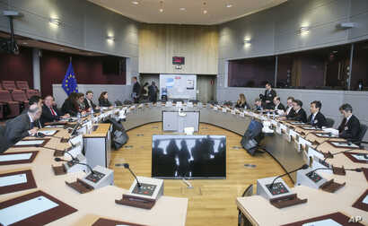 European Union, Japanese and U.S. trade officials confer at EU headquarters in Brussels, March 10, 2018. The EU is still seeking clarity from Washington about whether the 28-nation bloc will be exempt from U.S. President Donald Trump's steel and alum...