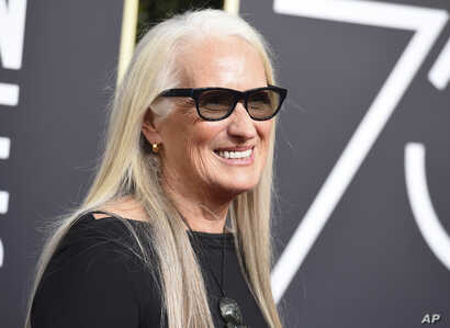 Jane Campion arrives at the 75th annual Golden Globe Awards at the Beverly Hilton Hotel, Jan. 7, 2018, in Beverly Hills, Calif.