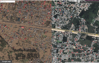 Google map of Srinagar, in the Kashmir valley, before and after after flood waters of Sept., 2014. (Used with permission from Google)