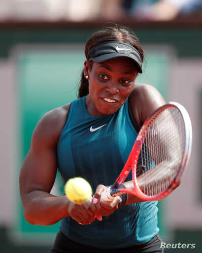 Sloane Stephens of the U.S. in action against Romania's Simona Halep in the French Open final at Roland Garros, Paris, June 9, 2018.