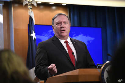 Secretary of State Mike Pompeo answers a question during a news conference on Tuesday, March 26, 2019, at the Department of State in Washington.