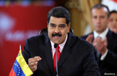 Venezuela's President Nicolas Maduro speaks during an ALBA alliance summit to mark fourth anniversary of the death of Venezuela's late President Hugo Chavez in Caracas, March 5, 2017.