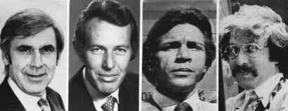 Leo J. Ryan D- California, and three newsmen were killed in an ambush in northern Guyana on Saturday, Nov. 20, 1978 after visiting the jungle headquarters of a controversial American religious sect. From left to right are: Ryan, 53; Don Harris, 41, a...