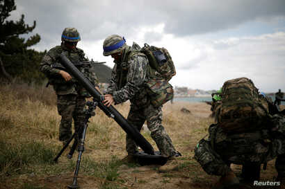 South Korean marines take part in a U.S.-South Korea joint landing operation drill as a part of the two countries' annual military training called Foal Eagle, in Pohang, South Korea, April 2, 2017.