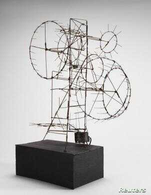 """A handout picture shows """"Prayer Wheel,"""" a 1954 steel wire sculpture by Jean Tinguely, which is on display in the show """"Experiments in Truth: Gandhi and Images of Nonviolence,"""" at The Menil Collection museum in Houston. (Artists Rights Society/ADAGP/)..."""