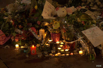 Authorities in Nice, France, say they have five people in custody for questioning but have not yet determined whether the killer worked alone or with a network, July 16, 2016. (H.Murdock/VOA)