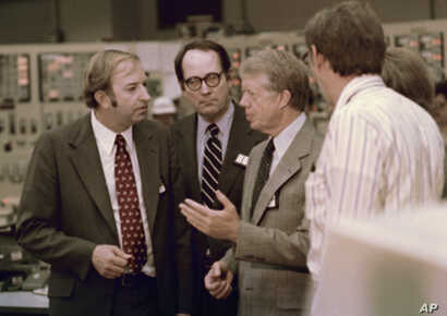 U.S. President Jimmy Carter shown  April 1, 1979 in control room of the Three Mile Island nuclear plant in Middletown, Pa.