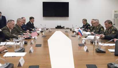 Chairman of the U.S. Joint Chiefs of Staff Gen. Joseph Dunford meets with Army Gen. Valeriy Gerasimov, Russia's chief of the General Staff of the Armed Forces and first deputy minister of defense, in Baku, Azerbaijan, Feb. 16, 2017. (Photo - U.S. D...