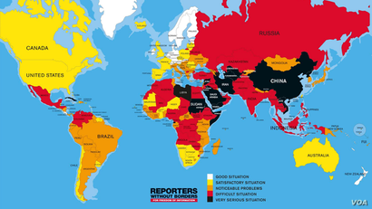 Reporters Without Borders 2016 World Press Freedom Index