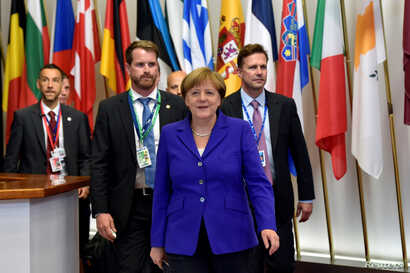 Germany's Chancellor Angela Merkel leaves after the EU Summit in Brussels, Belgium, June 29, 2016.
