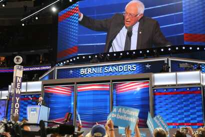 Former Democratic Presidential candidate Sen. Bernie Sanders takes the stage during the first day of the Democratic National Convention in Philadelphia, July 25, 2016.