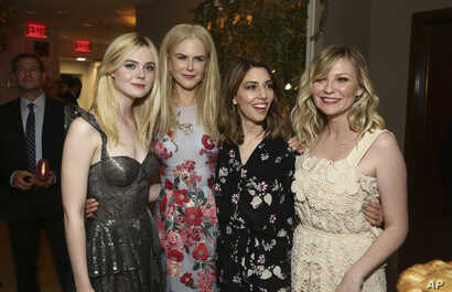 """Elle Fanning, Nicole Kidman, writer/director Sofia Coppola and Kirsten Dunst seen at the U.S. premiere of """"The Beguiled"""" after-party at Sunset Tower, June 12, 2017, in Los Angeles."""