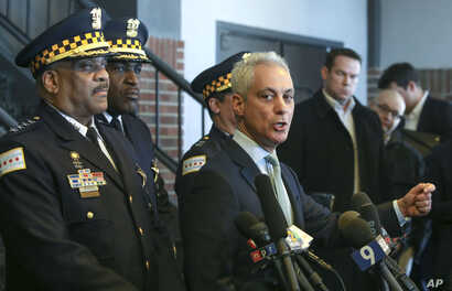 "Chicago Mayor Rahm Emanuel, right, and Chicago Police Superintendent Eddie Johnson appear at a news conference in Chicago, March 26, 2019, after prosecutors abruptly dropped all charges against ""Empire"" actor Jussie Smollett."