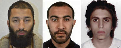 A combo handout photo issued by the London Metropolitan Police on June 6, 2017, shows Khuram Shazad Butt, left, Rachid Redouane, center, and Youssef Zaghba who have been named as suspects in Saturday's attack at London Bridge.