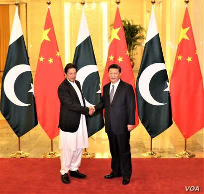 Pakistani Prime Minister Imran Khan with Chinese President Xi Jinping ahead of their meeting Nov. 2, 2018, in Beijing, China. (Source - Pakistani Prime Minister's Office via Ayaz Gul)