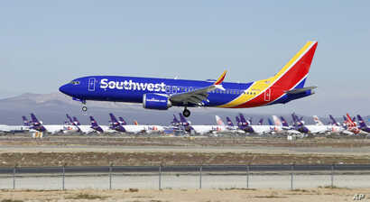 In this March 23, 2019, photo, a Southwest Airlines Boeing 737 Max aircraft lands at the Southern California Logistics Airport in the high desert town of Victorville, Calif. Southwest, which has 34 Max aircraft, is making cancellations five days in a...
