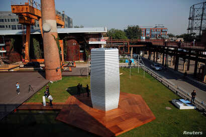 The Smog Free Tower, the world's largest smog vacuum cleaner designed by Dutch artist and innovator Daan Roosegaarde is seen at former industrial zone, now D-751 art district, as the artist presents his The Smog Free Project in Beijing, Sept. 29, 201...