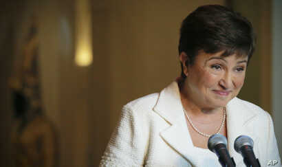 Kristalina Georgieva, European Union budget chief, listens during a press conference after addressing a meeting concerning her candidacy for the post of the Secretary-General, Monday, Oct. 3, 2016.