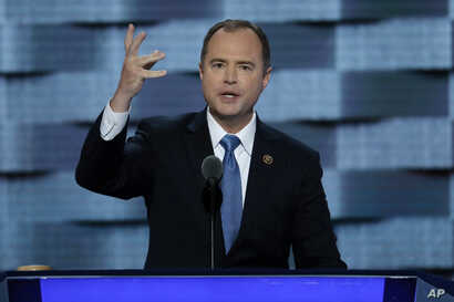 "FILE - U.S. Rep. Adam Schiff of California, pictured at the Democratic National Convention in Philadelphia in July 2016, says Michael Flynn's willingness to promote fake news ""raises profound questions about his suitability"" for the job of national s..."