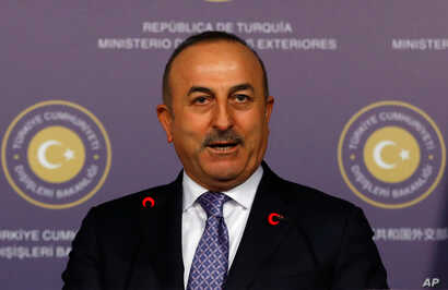 Turkish Foreign Minister Mevlut Cavusoglu speaks during a news conference in Istanbul, Jan. 25, 2018.