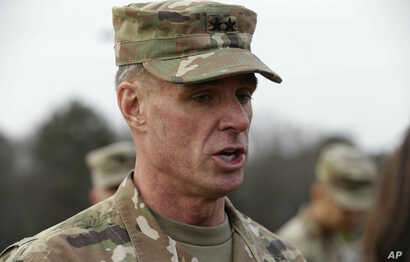Maj. Gen. Malcolm B. Frost, commanding general for the U.S. Army Center for Initial Military Training, U.S. Army Training and Doctrine Command watches troops participate in the new Army combat fitness test at Fort Bragg, N.C., Jan. 8, 2019.
