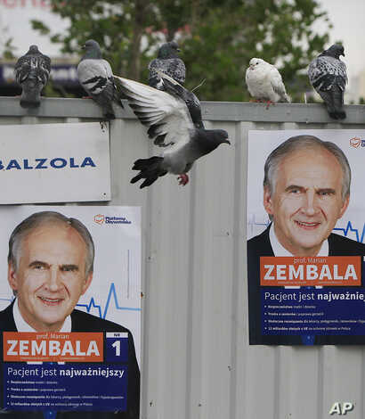 Pigeons fly near campaign posters of Health Minister Marian Zembala of the ruling pro-business Civic Platform in Katowice, Poland, Monday, Oct. 19, 2015.