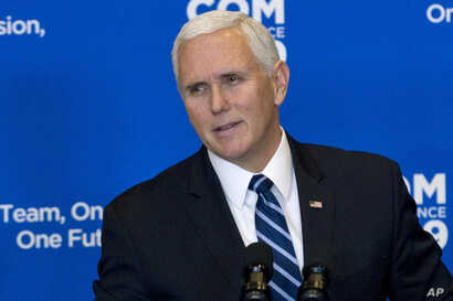 """Vice President Mike Pence speaks during the Global Chiefs of Mission Conference """"One Team, One Mission, One Future"""" at Department of State on Jan. 16, 2019, in Washington."""