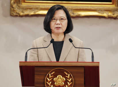 Taiwanese President Tsai Ing-wen delivers a speech during a New Year's day press conference in Taipei, Taiwan, Jan. 1, 2019.