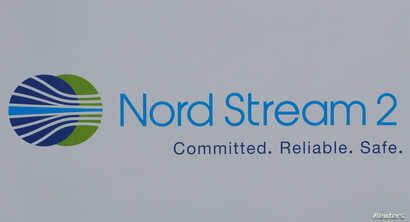The logo of the Nord Stream-2 gas pipeline project is seen on a board at the St. Petersburg International Economic Forum 2017 (SPIEF 2017) in St. Petersburg, Russia, June 1, 2017.