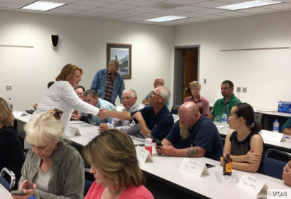 Democratic Sen. Heidi Heitkamp of North Dakota spoke recently to Valley City farmers and small-business owners at an economic roundtable.