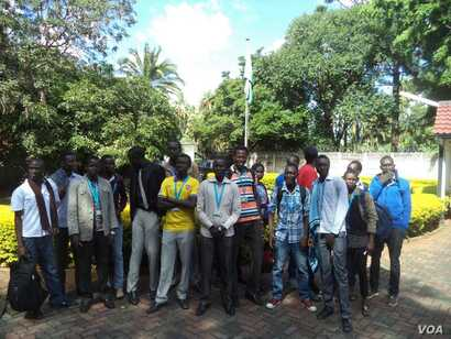 Some of the group members are pictured upon their arrival at the South Sudan Embassy in Zimbabwe. (Photo courtesy of South Sudanese students)