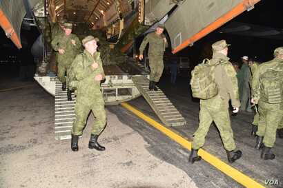 Russian soldiers arrived in Pakistan, Oct. 21, 2018, to take part in joint drills.