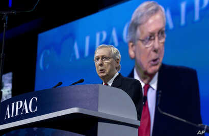 Senate Majority Leader Mitch McConnell of Ky. speaks at the 2017 American Israel Public Affairs Committee (AIPAC) Policy Conference, March 28, 2017,  at the Washington Convention Center in Washington.