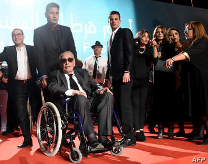 FILE - Egyptian actor Gamil Ratib arrives for the closing ceremony of the 27th Carthage Film Festival on November 5, 2016, in the Tunisian capital Tunis.