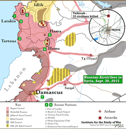 Institute for the Study of War, Russia airstrikes in Syria, Sept. 30, 2015