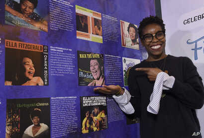 "Nwaka Onwusa, curator of The Grammy Museum at L.A. Live, poses for a portrait at a sneak preview of ""Ella at 100: Celebrating the Artistry of Ella Fitzgerald,""  April 24, 2017."