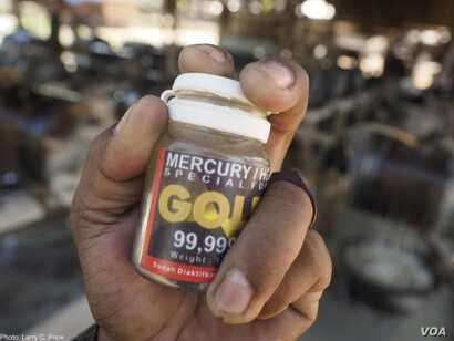 Bottles of mercury are sold in many small-scale gold mining communities. Credit Larry C. Price