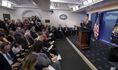 President Barack Obama speaks during a news conference, Dec. 16, 2016, in the briefing room of the White House in Washington.
