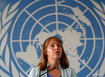 United Nations Special Rapporteur on Human Rights in Cambodia Rhona Smith speaks during a news conference in Phnom Penh, Cambodia, Nov. 8, 2018.
