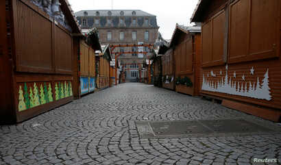A view shows an empty alley of the traditional Christkindelsmaerik (Christ Child market) closed the day after a shooting in Strasbourg, France, Dec. 12, 2018.